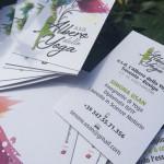 Macro di immagine coordinata di Albero dello Yoga è composta da: studio del logo + biglietto da visita + flyer info